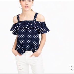 J.Crew Navy blue/white polka dot cold shoulder top